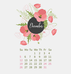 Flower calendar 2021 with bouquets flowers vector
