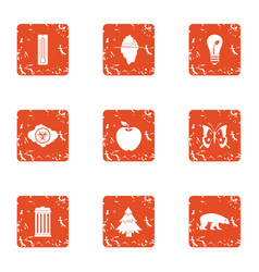 Forest district icons set grunge style vector