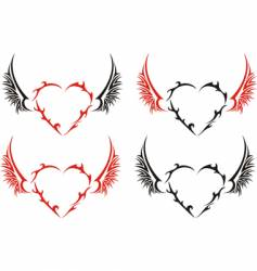Four tribal hearts with wings vector