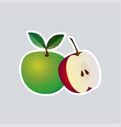 fresh juicy apple icon tasty ripe fruits sticker vector image