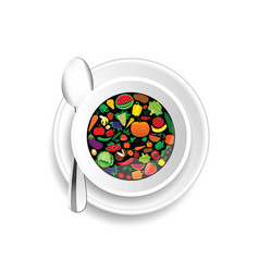 Fruit and vegetable in cup of coffee vector