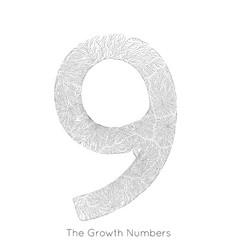 Generative branch growth number 9 lichen vector