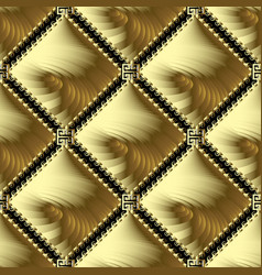 greek gold meander 3d seamless pattern abstract vector image