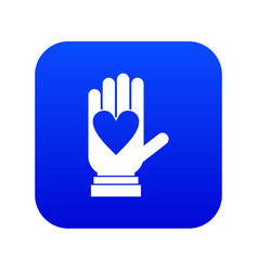 hand with heart icon digital blue vector image