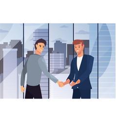 Handshake icon flat design image vector