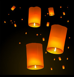 happy diwali holiday background with sky lanterns vector image