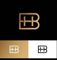 Hb monogram logo premium letters gold elements vector