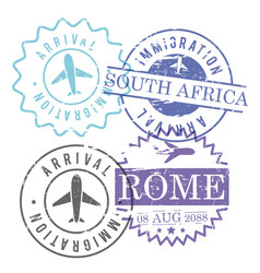 Immigration and arrival travel circular stamps of vector