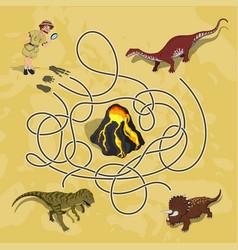 kids maze labyrinth dino way vector image