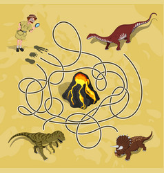 kids maze labyrinth of dino way vector image