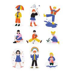 Kids spring or summer outdoor activities set vector