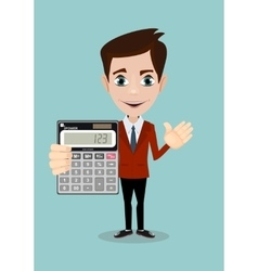 Mathematical Man Holding Calculator vector