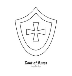 Medieval logo emblem template with outline icon vector