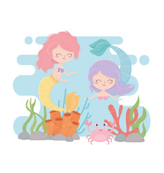 mermaids and crab reef coral cartoon under sea vector image