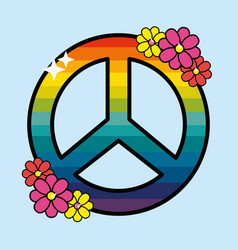 nice hippie emblem with flowers design vector image