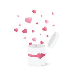 open gift box with heart confetti burst vector image