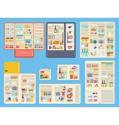 Open refrigerator products set vector