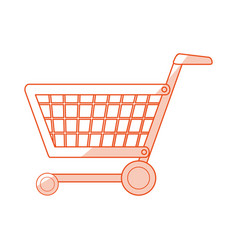 orange shading silhouette cartoon shopping cart vector image