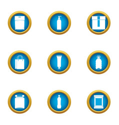 paper bag icons set flat style vector image