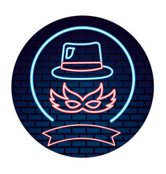 Party mask hat neon brick wall vector