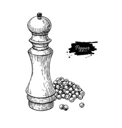 pepper mill with heap of peppercorn drawing vector image