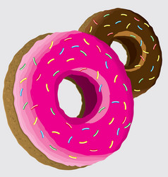 pink and chocolate donuts icons vector image