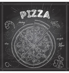 Pizza with shrimp scetch on a black board vector