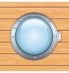 Porthole Window on a Wooden Ship Image vector