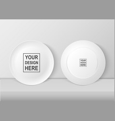 Realistic white food dish plate icon set vector