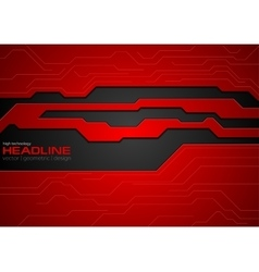 Red and black contrast tech corporate background vector