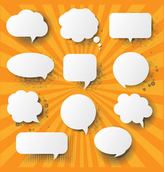 Retro speech bubble with sunburst background vector