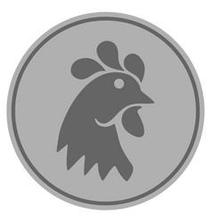 Rooster head silver coin vector