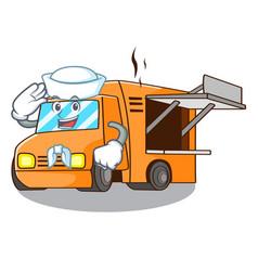 Sailor rendering cartoon of food truck shape vector