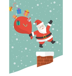 Santa claus with red big bag jumping in the vector image
