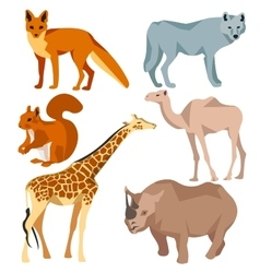 Set Isolated different animals fox wolf giraffe vector image