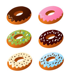 Set of cute sweet colorful donuts vector