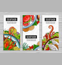 Set of seafood vertical banners vector