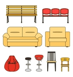 Set of seats-bw vector
