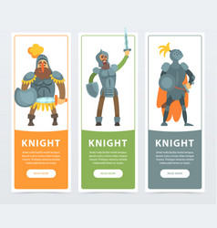 set of three colorful banners with armed medieval vector image