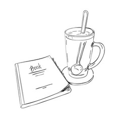 sketch books and cups with a spoon vector image
