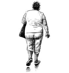 Sketch casual elderly city woman walking along vector