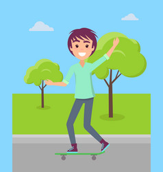 teenager ride on skateboard in summer park vector image