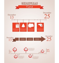three christmas season time line templates with vector image