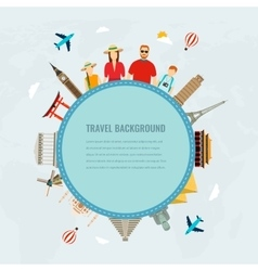 Travel composition with family and famous world vector image vector image