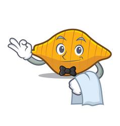 Waiter conchiglie pasta mascot cartoon vector