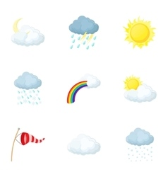 Weather outside icons set cartoon style vector image