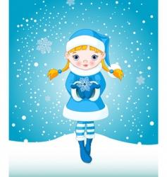 Winter girl in snow vector