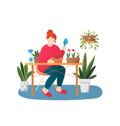 woman planting flowers cartoon character vector image