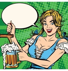 Young blond woman pours a beer national costume vector