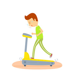 Young man running on a treadmill sport man vector